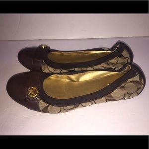 Coach Chelsey Monogram Flats Size 8 Brown